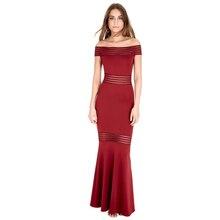 Boho de las mujeres Rojo Negro Vestido Atractivo del Hombro vestido de Malla raya Acanalada Sirena de La Llamarada Vestido Largo Maxi Del Partido de Tarde 2018 409600