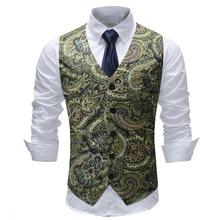Mens Hipster Paisley Suit Vest 2018 Autumn New Slim Fit Sleeveless Waistcoat Male Business Wedding Man Gilet Costume