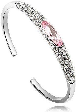 Австрийский Кристалл глаз тапочки AAAA+ стразы манжета жесткий Браслет Подарочный качество модные ювелирные изделия Прямая поставка Новое поступление - Окраска металла: silver pink