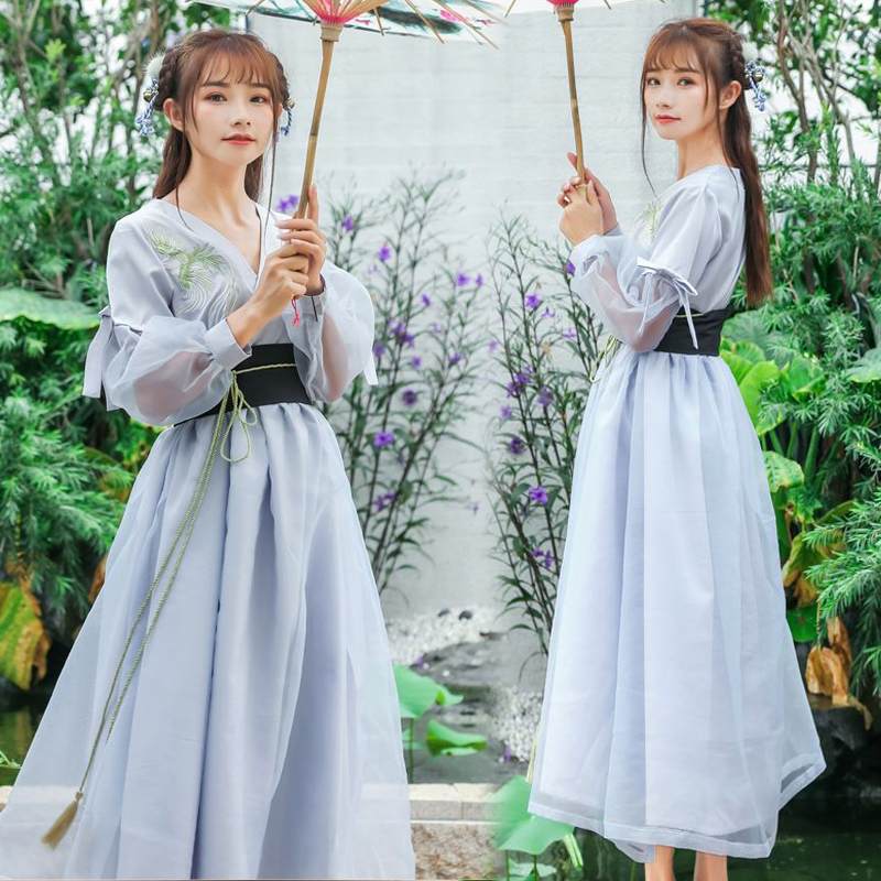 2018 Hanfu Ancient Chinese Costume Chinese Folk Dance Fairy Costumes Brocade Women'S Classical Chinese Cosplay Clothing DN2106