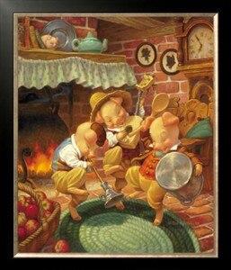 46-55-Рукоделие Ремесло домашний декор Французский DMC Качество Счетный крест Набор Сделай Сам Картина маслом 14 ct три маленькие свиньи