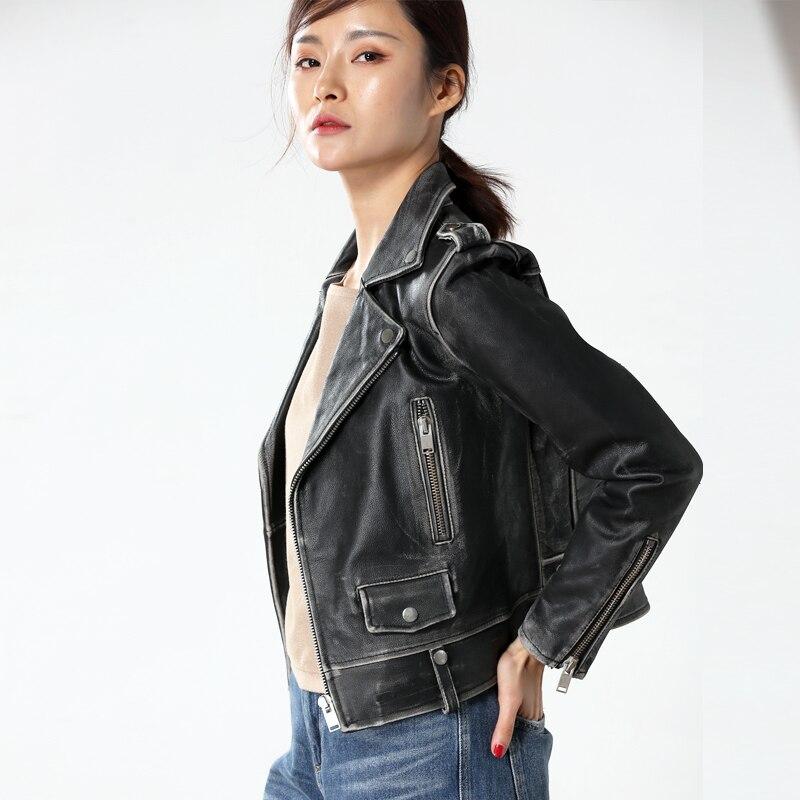 Cuir De Courte Vache Femmes Noir Gratuite Véritable Manteau En Mince Vestes Peau Livraison Vintage Moto Cuir qq1X0wxp