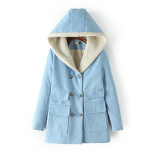 Winter Lamb Thickened New Women Jacket Mori Girl Solid Color Patchwork Double-Breasted Hooded Coat Pocket Casual Outerwear Coats
