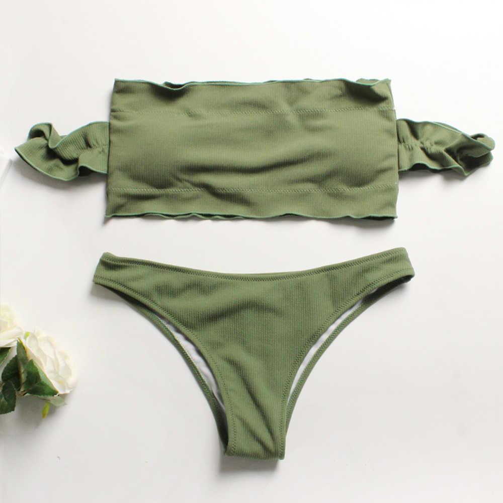 381a739b968b1 ... Пикантные с длинным рукавом со складками, с открытыми плечами комплект  бикини Женская купальник пляжная одежда