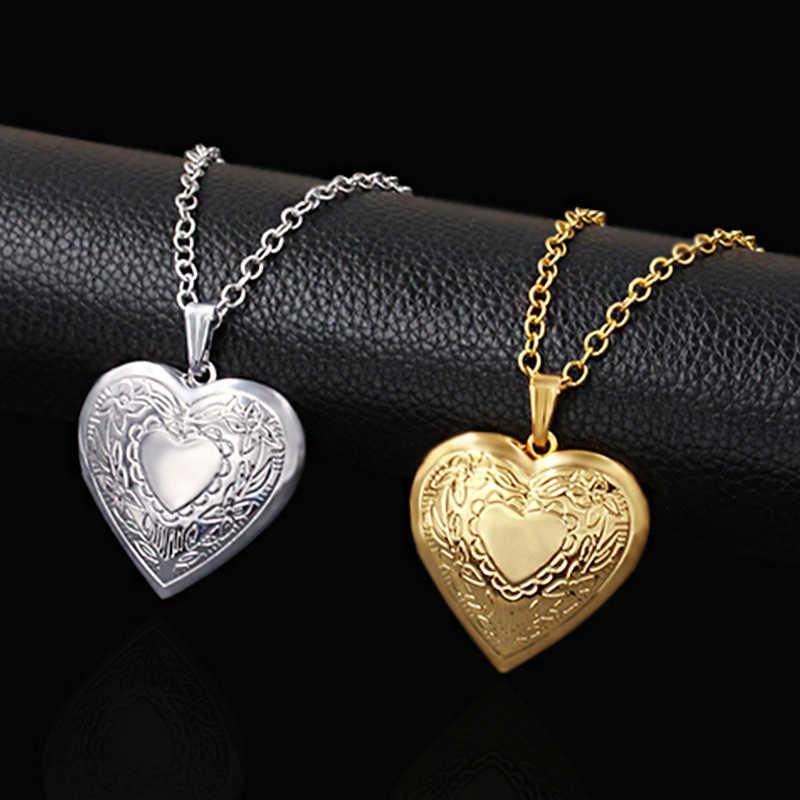 Serce medalion wisiorki naszyjniki dla kobiet złoty kolor ramka na zdjęcia Valentine lovers naszyjnik 45/66cm biżuteria prezent