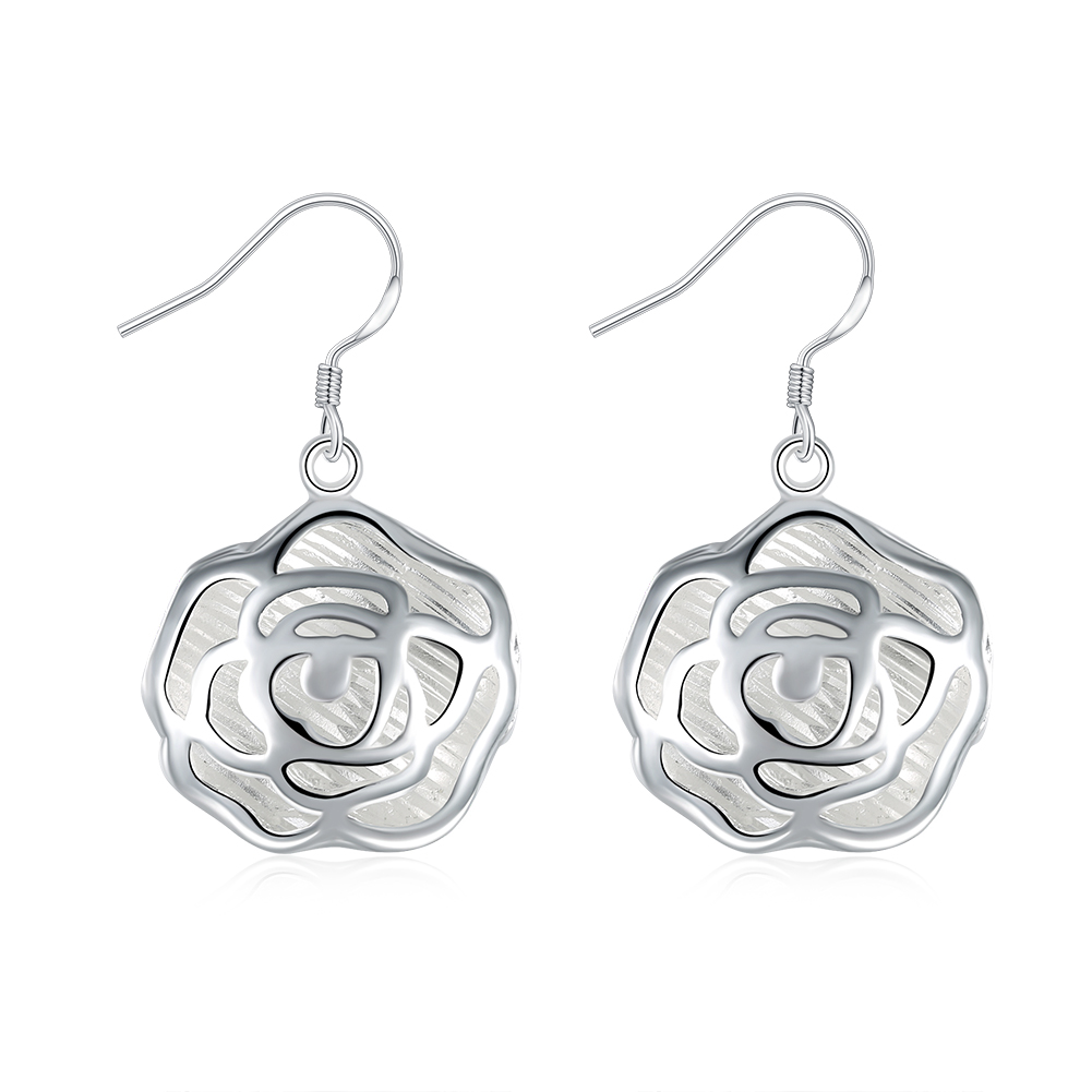 Lose Money Promotion! Wholesale Plated Silver Earrings, Plated Silver Fashion Jewelry, Classic Rose Pierced Drop Earrings