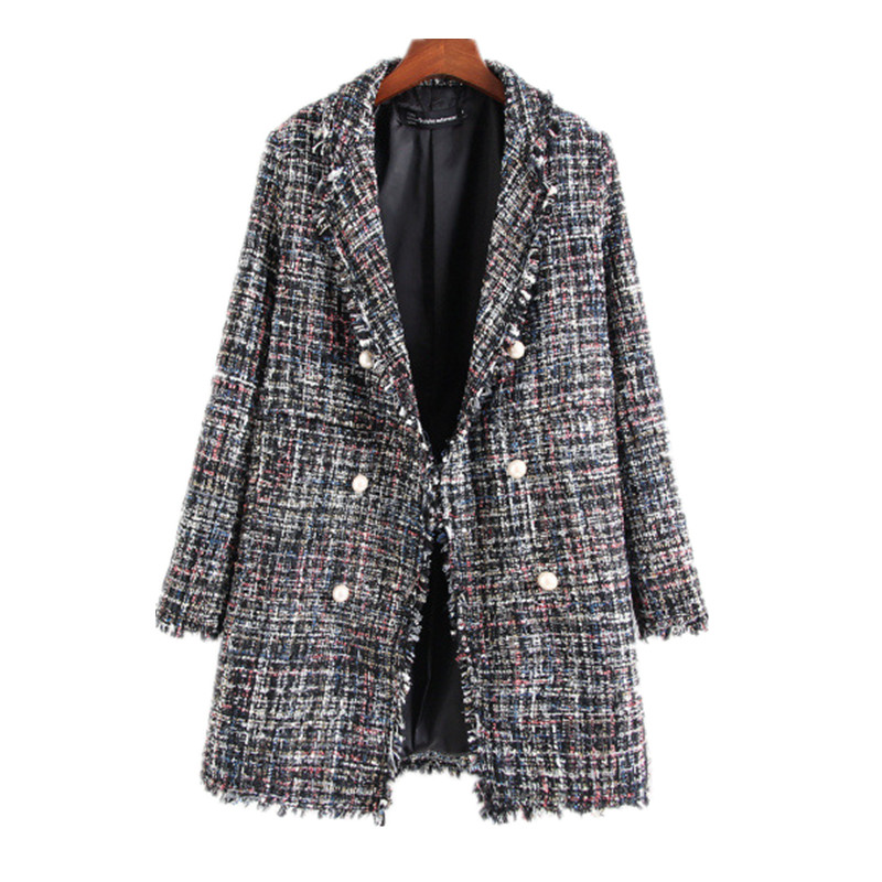 Autumn Women New Suit European American Style Rough Tweed Lady Style Female Slim Fit Pearl Button Decoration Coats Suit Blazers