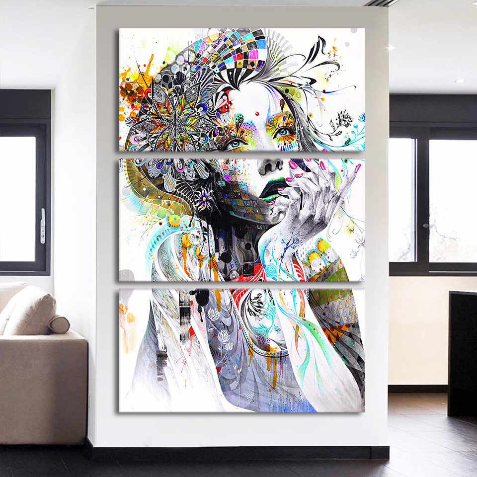 Canvas Wall Art Paintings Home Decor 3 Pieces Abstract Watercolor Girl Face Flower Hair Pictures Modular HD Prints Poster Framed
