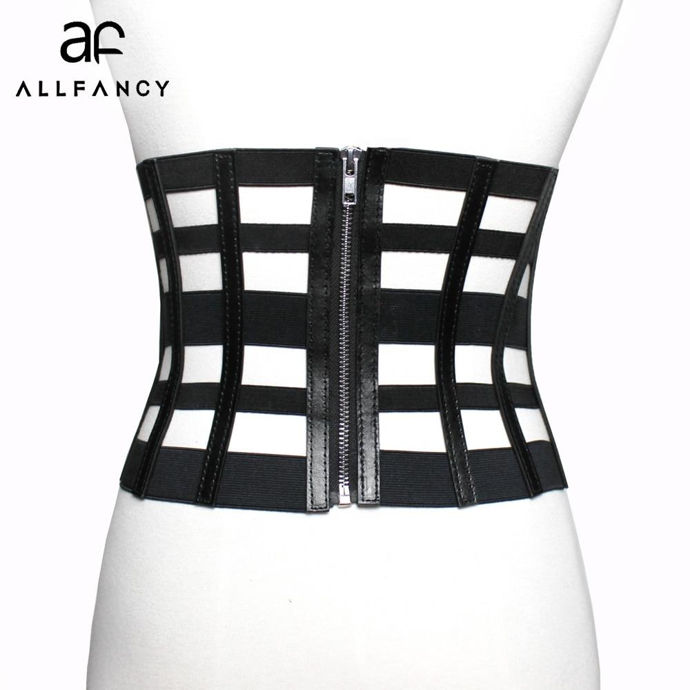 New Women Ultra Wide Belt Adjustable Slim Corset Body Shaper Black Faux Leather Retro Design Elastic Strap Belt Slimming Corset