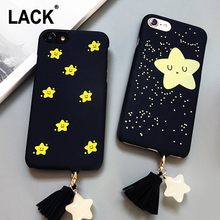 LACK Luxury Stars Tassel Pendant Case For iphone 7 Case Lovely Cartoon Back Cover Fashion Hard PC Phone Cases For iphone7 7 PLus