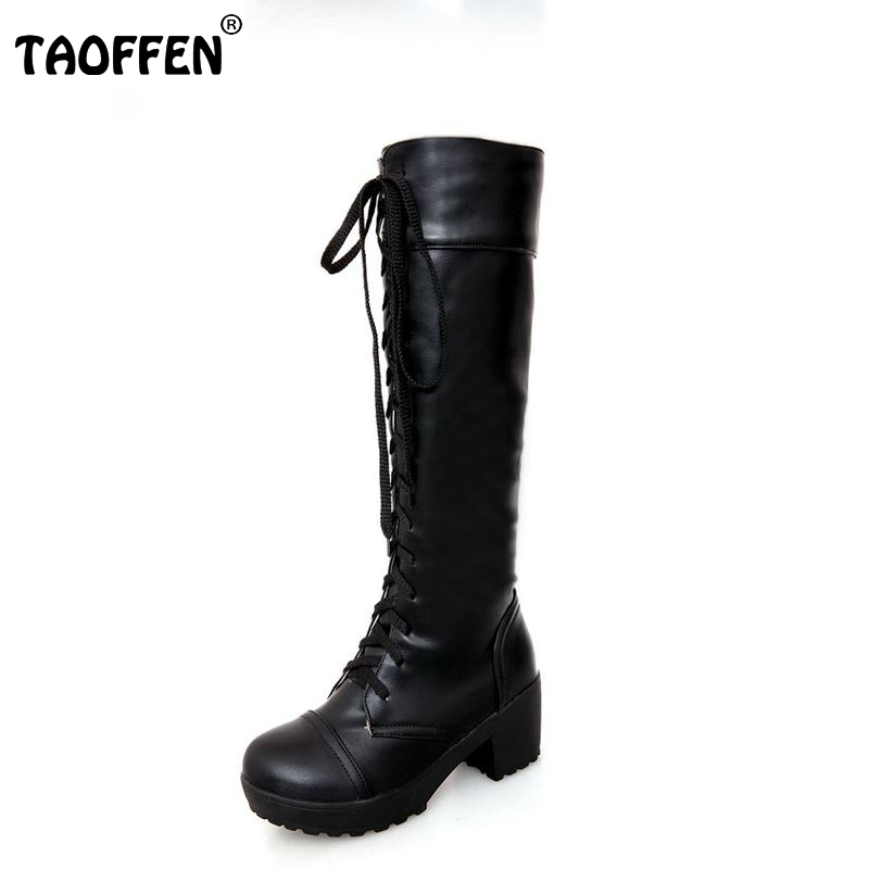 TAOFFEN women high heel over knee boots motorcycle autumn winter botas cross strap boot footwear heels shoes P20542 size 34-43 enmayla winter autumn round toe low heel knee high boots women flats lace up shoes woman rider brown black suede motorcycle boot