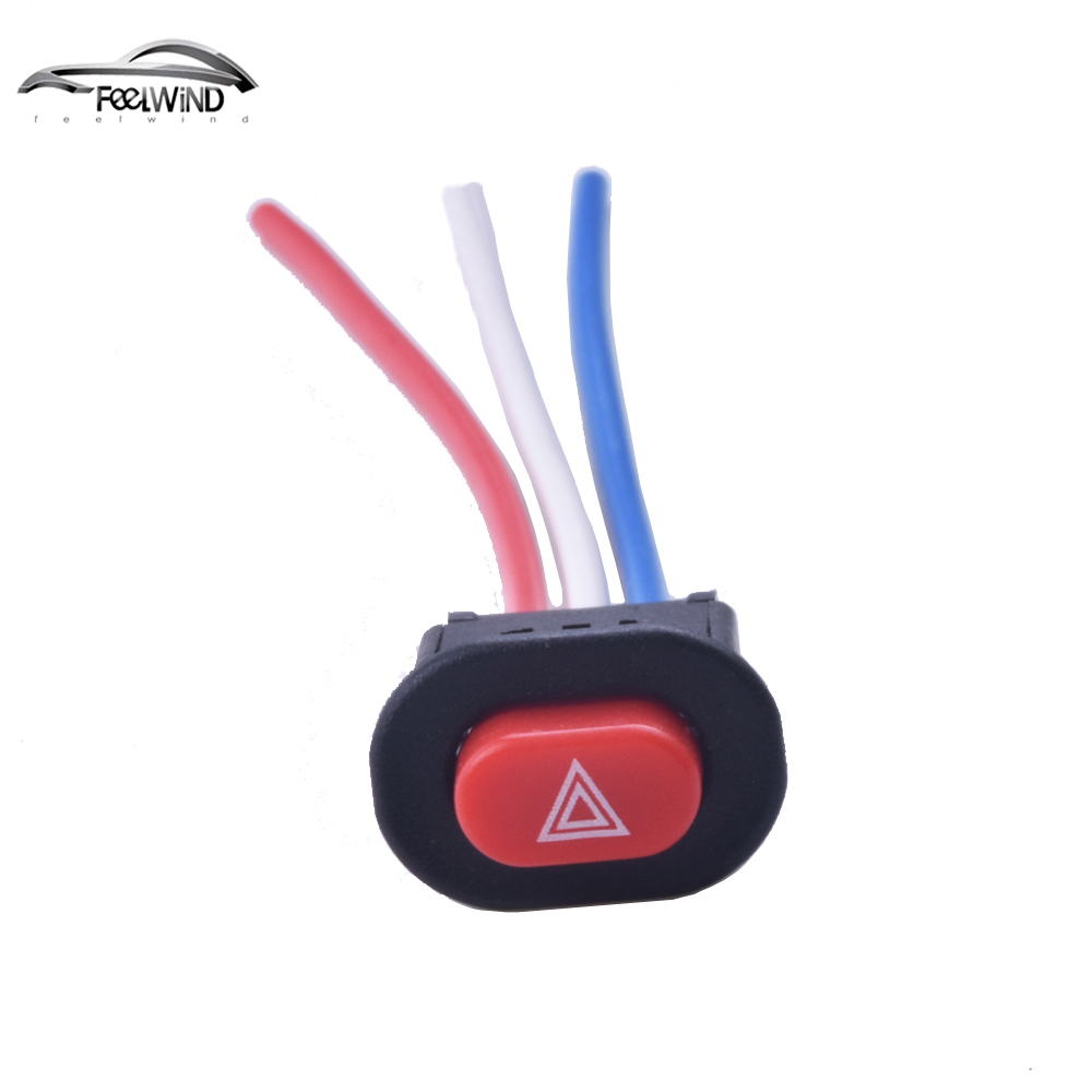 Motorcycle Switch Hazard Light Switch Button Double Flash Warning Emergency Lamp Signal Flasher with 3 Wires Built-in Lock