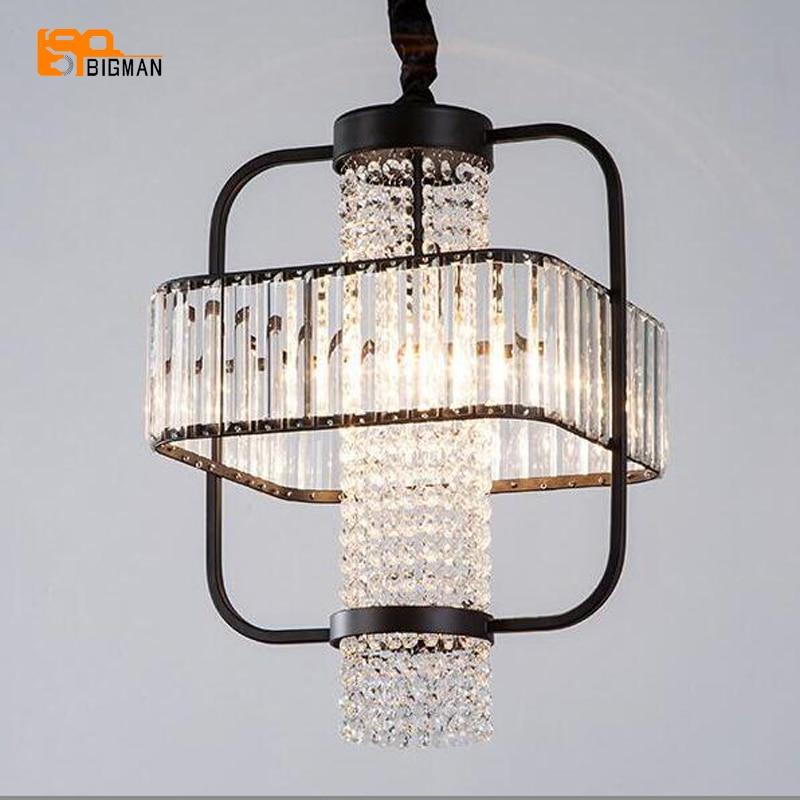 Schwarz Kristall Kronleuchter Lampen Vintage Loft Pendelleuchten Glanz Esszimmer Wohnzimmer Licht E14 LED LuminareChina