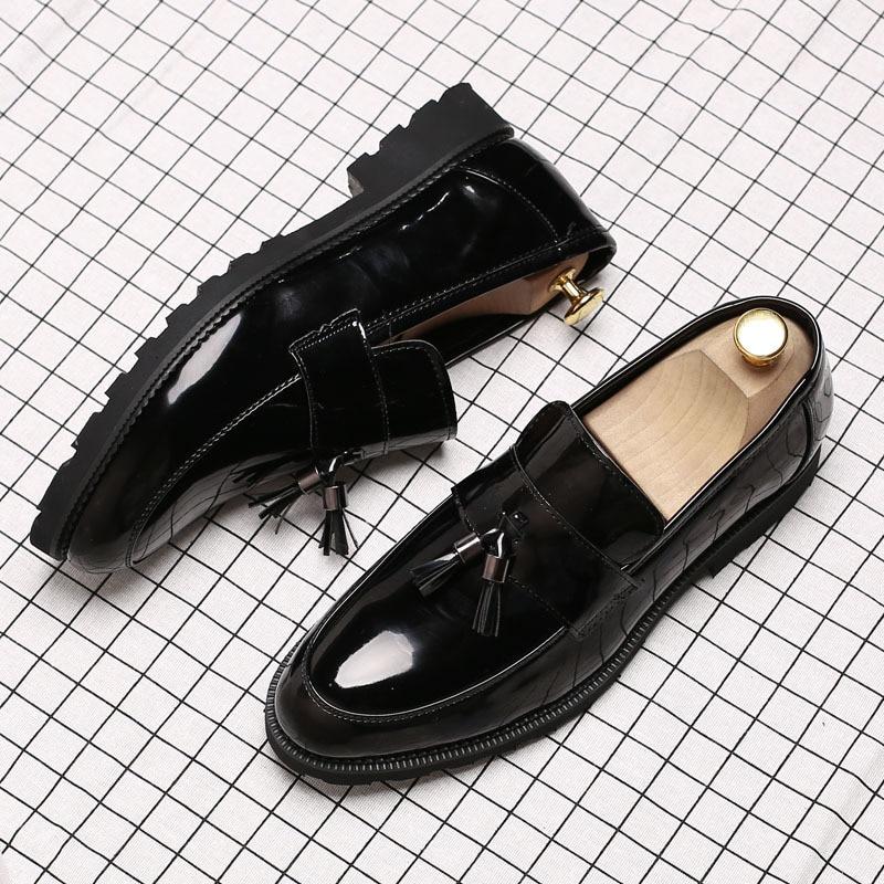 portant Black De Richelieu Mocassins 48 Causalité Plus Slip Robe Dur La Hommes 37 D'affaires Cuir Taille En Mode Gland Sur Chaussures 8qpRp