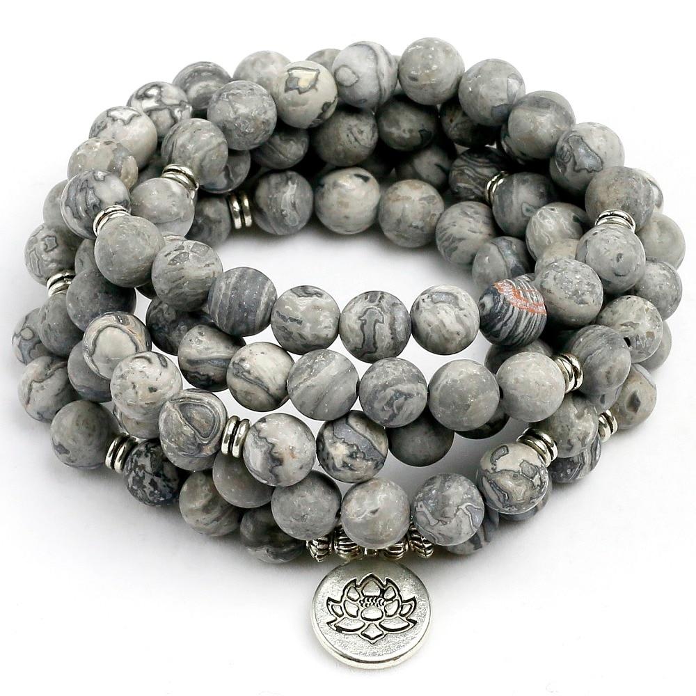 Natural Matte Grey Map Stone Charm Bracelet Natural Bead Mens Bracelet Chakra 108 Mala Jewelry Gift for Him Free Shipping