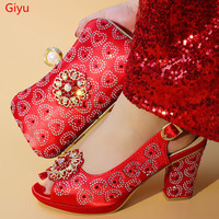 doershow Nigerian Style Woman Shoes And Bag Set Latest red Italian Shoes And Bag Set For Party Dress free shipping SHM1 14