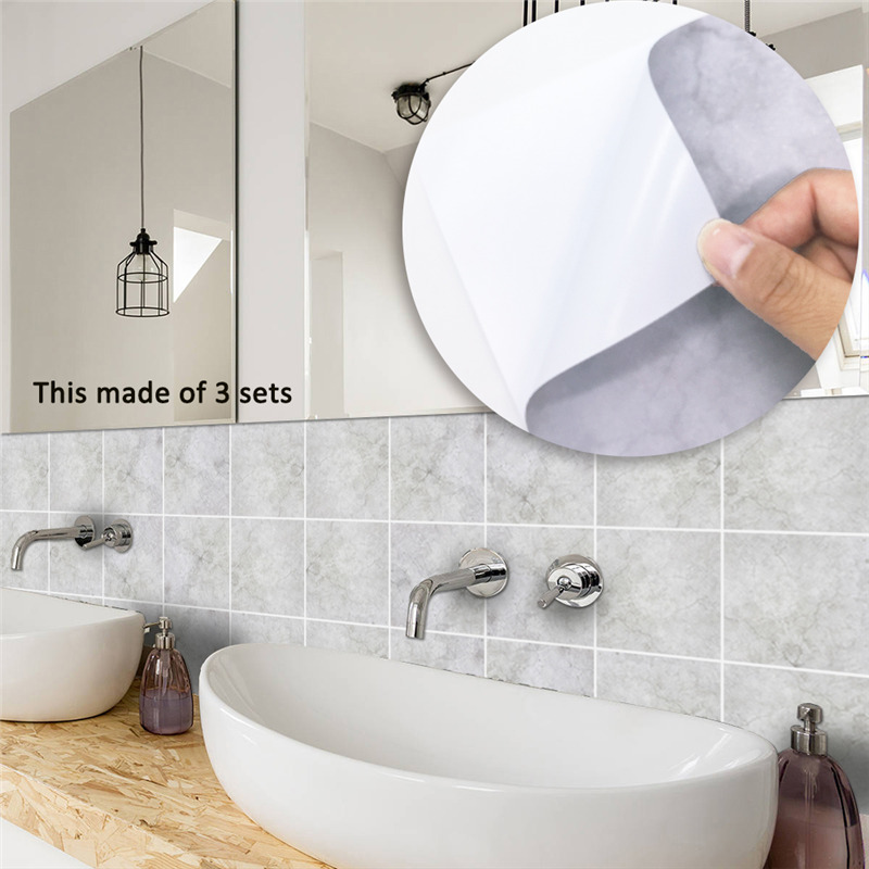Hot Retro Grey Wall Tiles Stickers Waterproof PVC Wallpaper for Kitchen Bathroom Toilet Home Decor Floor Removable Art Decal