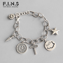 F.I.N.S Punk Vintage 925 Sterling Silver Bracelet Smile Face Clock Star Pendant Thai Silver Chain Charm Bracelets Fine Jewelry 925 sterling silver bracelet bangle retro thai silver male personality silver chain magic circle evil eye bracelet punk biker