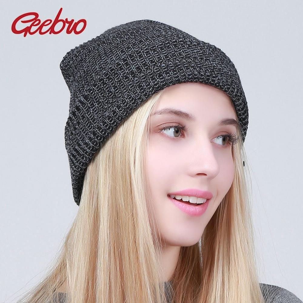 fee28049ef395 Geebro Winter Knitted Hats For Women Skullies Beanies Casual Acrylic Warm  Knitted Beanie Hat bonnet balaclava