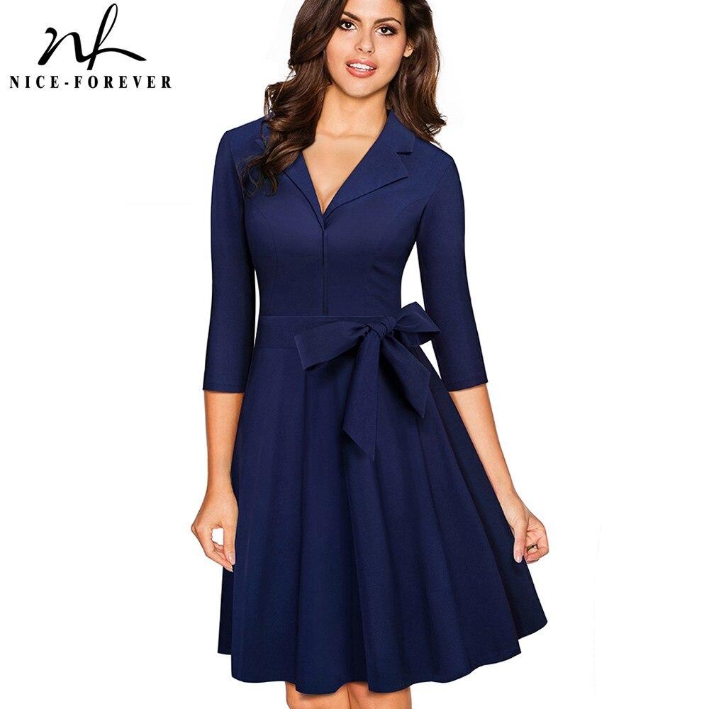 Nice forever Vintage Solid Color Turn Down V Collar Elegant vestidos 3 4 Sleeve A Line