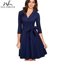 Nice forever Vintage Solid Color Turn Down V Collar Elegant vestidos 3/4 Sleeve A Line Pinup Business Women Flare Dress A060