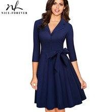 Nice-forever Vintage Solid Color Turn-Down V Collar Elegant vestidos 3/4 Sleeve A-Line Pinup Business Women Flare Dress A060