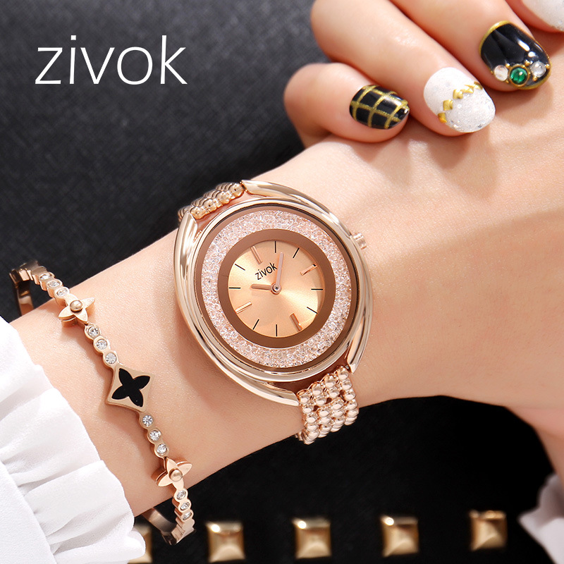 Zivok 8001 Quartz Watches Ladies Top Brand Luxury Crystal Ball Female Wrist Watch Rose Gold Watch Women Clock Relogio Feminino watch women luxury brand lady crystal fashion rose gold quartz wrist watches female stainless steel wristwatch relogio feminino