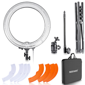 Neewer Dimmable Light 18-Inch Diameter 75W Ring Fluorescent Flash Light And Stand Kit for Photography Lighting YouTuber US Plug
