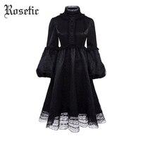 Rosetic Gothic Retro Black Dress Donna Autunno Lanterna Manica Vintage Vita monopetto a Maglia Femminile Goth Abiti Invernali