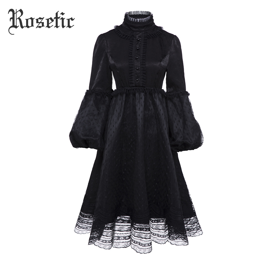 Rosetic Gothic Retro Dress Black Women Autumn Lantern Sleeve Vintage Single-breasted Waist Mesh Female Goth Dresses Winter