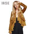 IRISIE Apparel Ruffle Chic Women Jacket Coat Yellow Casual Chic Romantic Falbala Jacket Autumn Buttons Frill Elegant Outwear