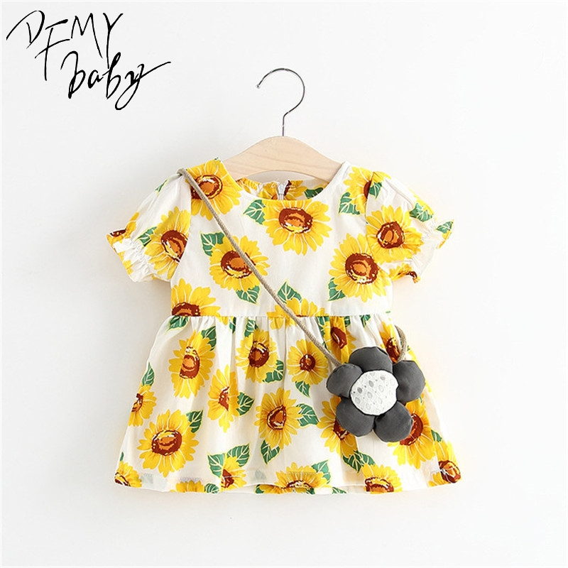 Kids Girls Dress Cotton New Born Baby Summer Dress Baby Girls Clothes Toddler Fashion Casual Costumes 6 Kinds Flowers Printing