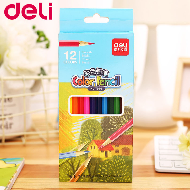 Deli 36 Colors Stationery High Quality Colored Pencil Drawing Painting Candy Colors Pencils For School Non-toxic For Student