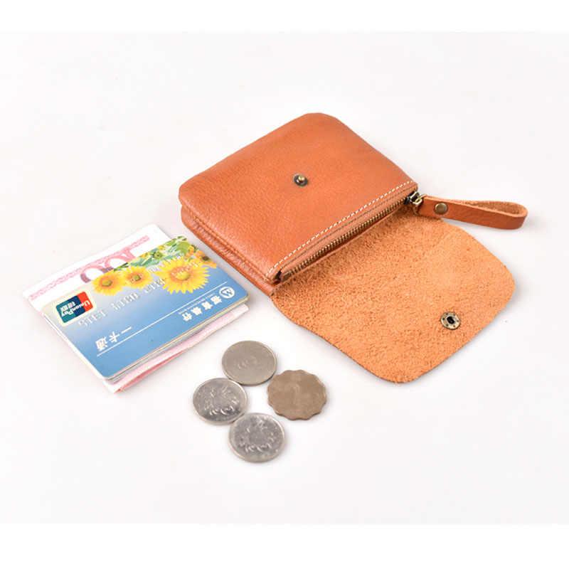 Aetoo Buatan Tangan Koin Dompet Pria Retro Kulit Pendek Kecil Dompet Koin Wanita Lapisan Pertama Kulit Tas Koin