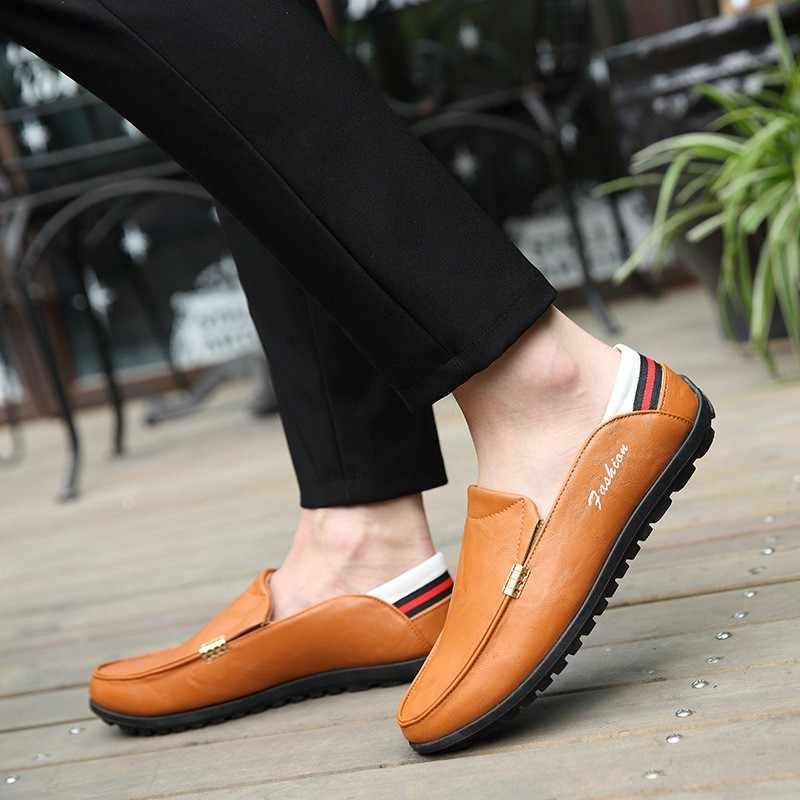 แฟชั่นผู้ชายใหม่รองเท้าหนังรองเท้าสบายๆสบายๆรองเท้าส้นเตี้ยรองเท้าผู้ชายลื่นขี้เกียจรองเท้า Zapatos Hombre