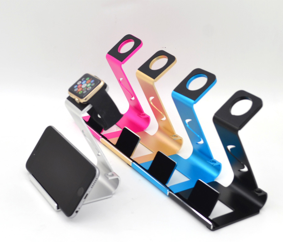 Two-in-one new aluminum mobile phone stand desktop stand phone base iPad stand Apple watch charging bracket Free shipping