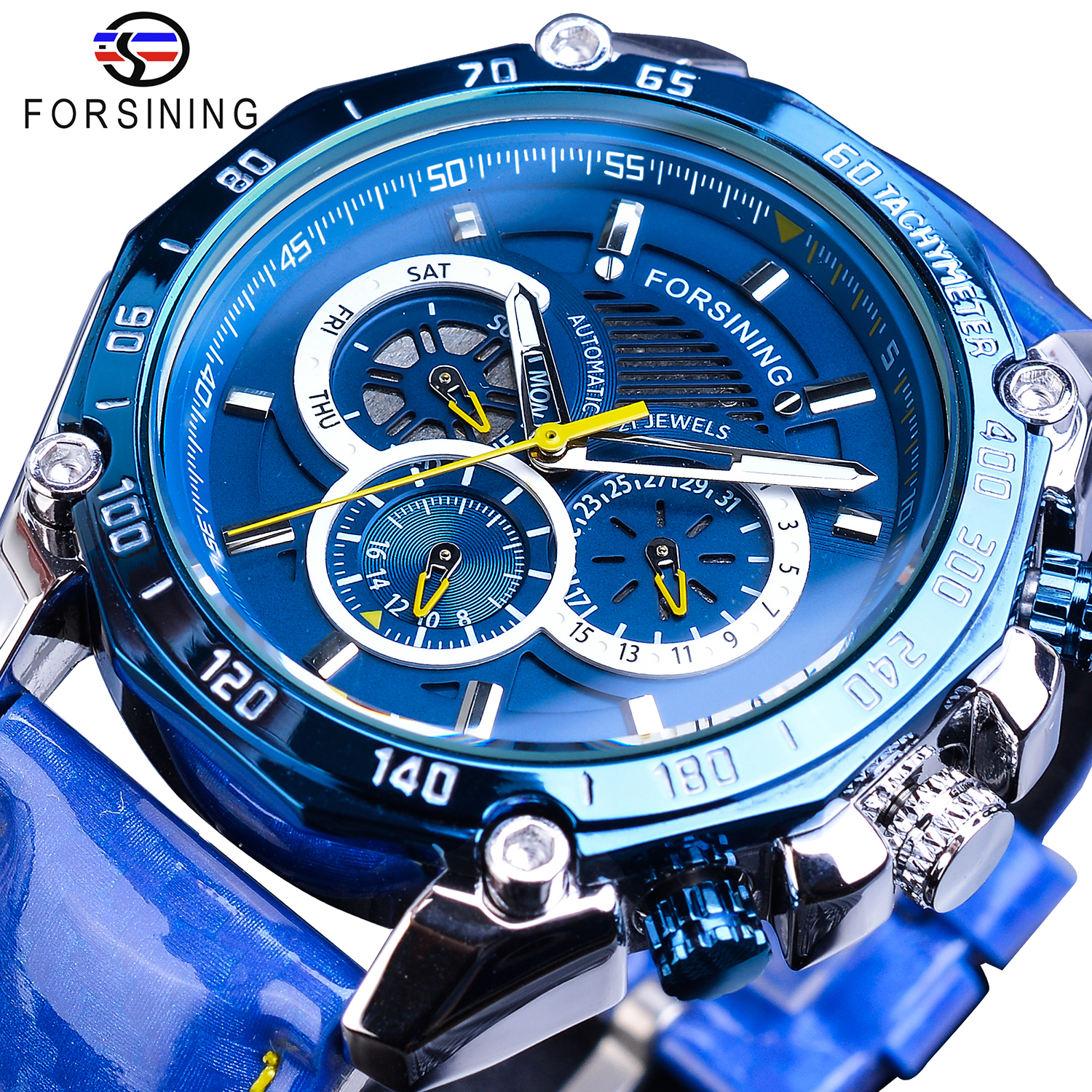 Forsining Blue 2019 New Automatic Mens Watch Fashion Speed Racing Sports Date Day Leather Band Watches Big Dial Mechanical Clock