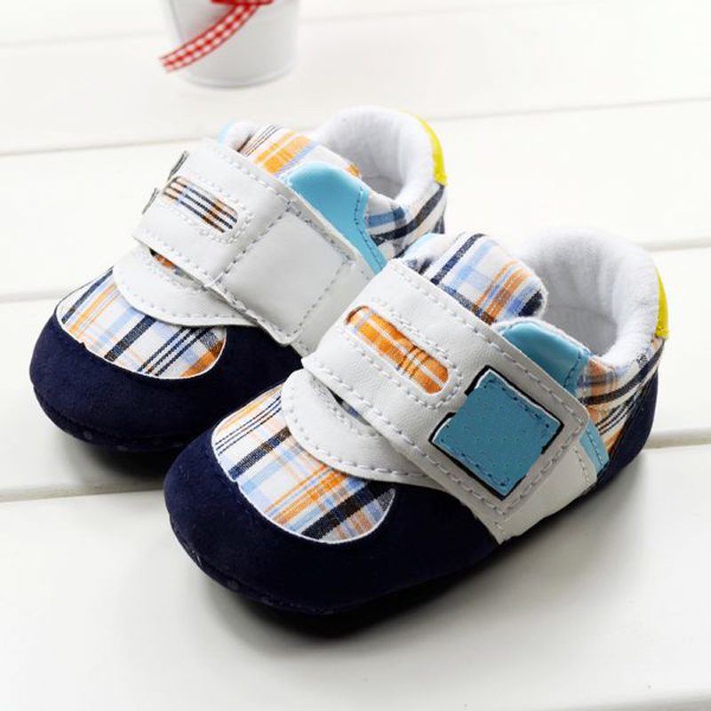 Anti Slip Soft Sole Sneakers 3-18M Baby Boy Girls Crib Shoes Faux PU Leather Cotton frc2758