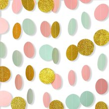 цены METABLE 7 Pack Circle Dots Paper Garland Backdrop Hanging Decorations for Wedding Party Baby Shower Mint and Glitter Gold