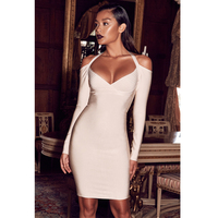 2017 New Style Winter Women Evening Party Dresses Vestidos Top Quality Sexy Halter Off Shoulder Autumn Long Sleeve Bandage Dress