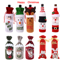 1pc Christmas Wine Bottle Snowman Santa Decoration Xmas Cap Decor Merry