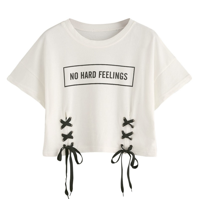 Fashion Women T-Shirt Letters Printed Round Neck Short Sleeves White Lacing Short Cotton T-Shirt
