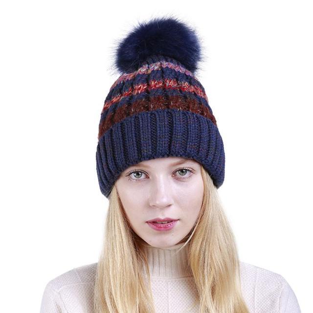 810fcecb4be 2018 New fashion Women And Men Cap Unisex Color Block Knit Wool Beanie Cosy  Winter Warm Bobble Ski Pom Pom Hat Cap winter hat