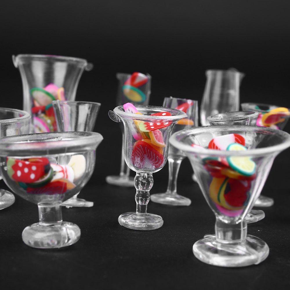 Hot Sale 17pcs/Set Mini Transparent Drink Cups Dish Plate Tableware Miniatures DIY Pretend Play Kitchenware Toy