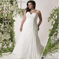 2017 Plus Size Chiffon Wedding Dresses A-line Ruched Beading Sweep Train Sequins Sweetheart Bridal Gowns Cheap vestido de noiva