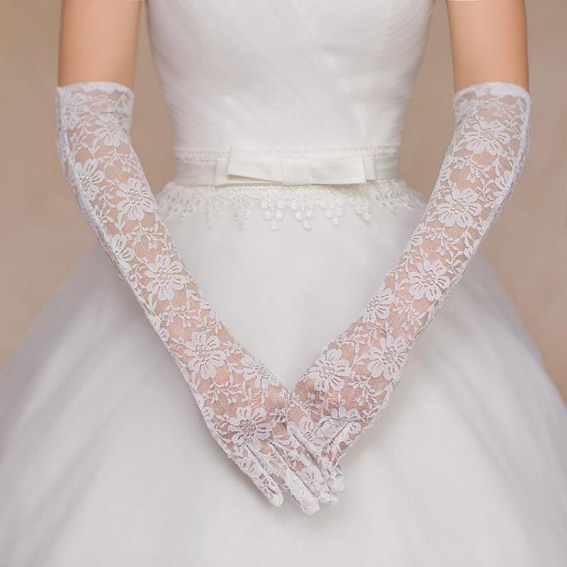 Accessoire Mariage Elegant Long Lace Gloves For Wedding Party Guantes De Novia Cheap Full Fingers Bride Bridal Gloves 05401