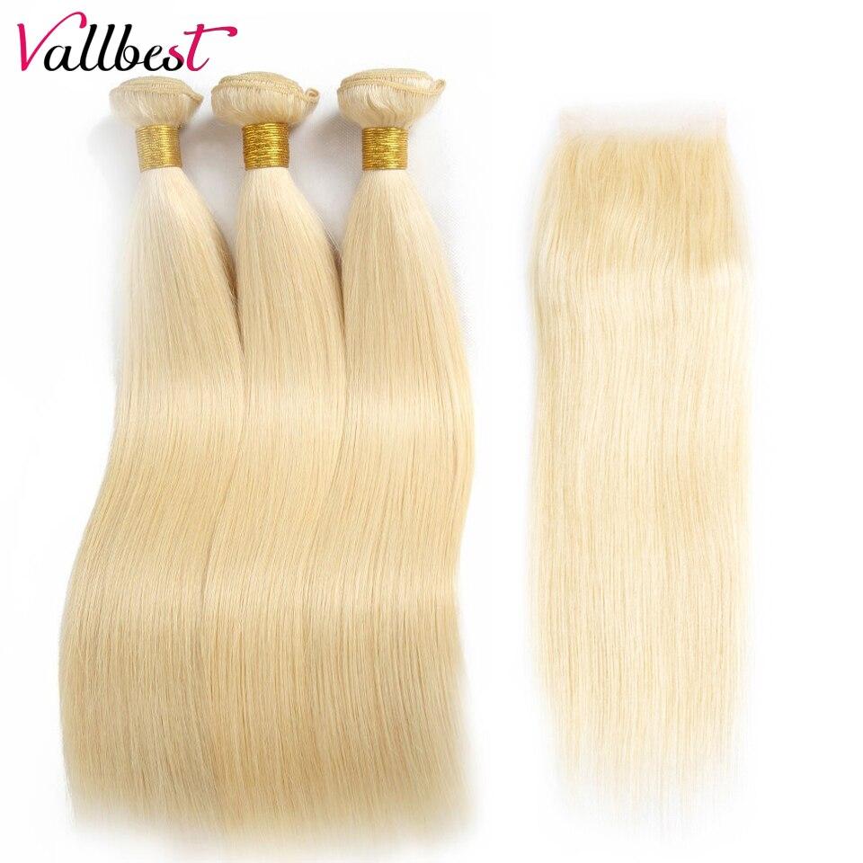 Vallbest бразильский пучки волос плетение прямые волосы 613 Связки с закрытием блондинка человеческих волос Связки с закрытием Волосы remy