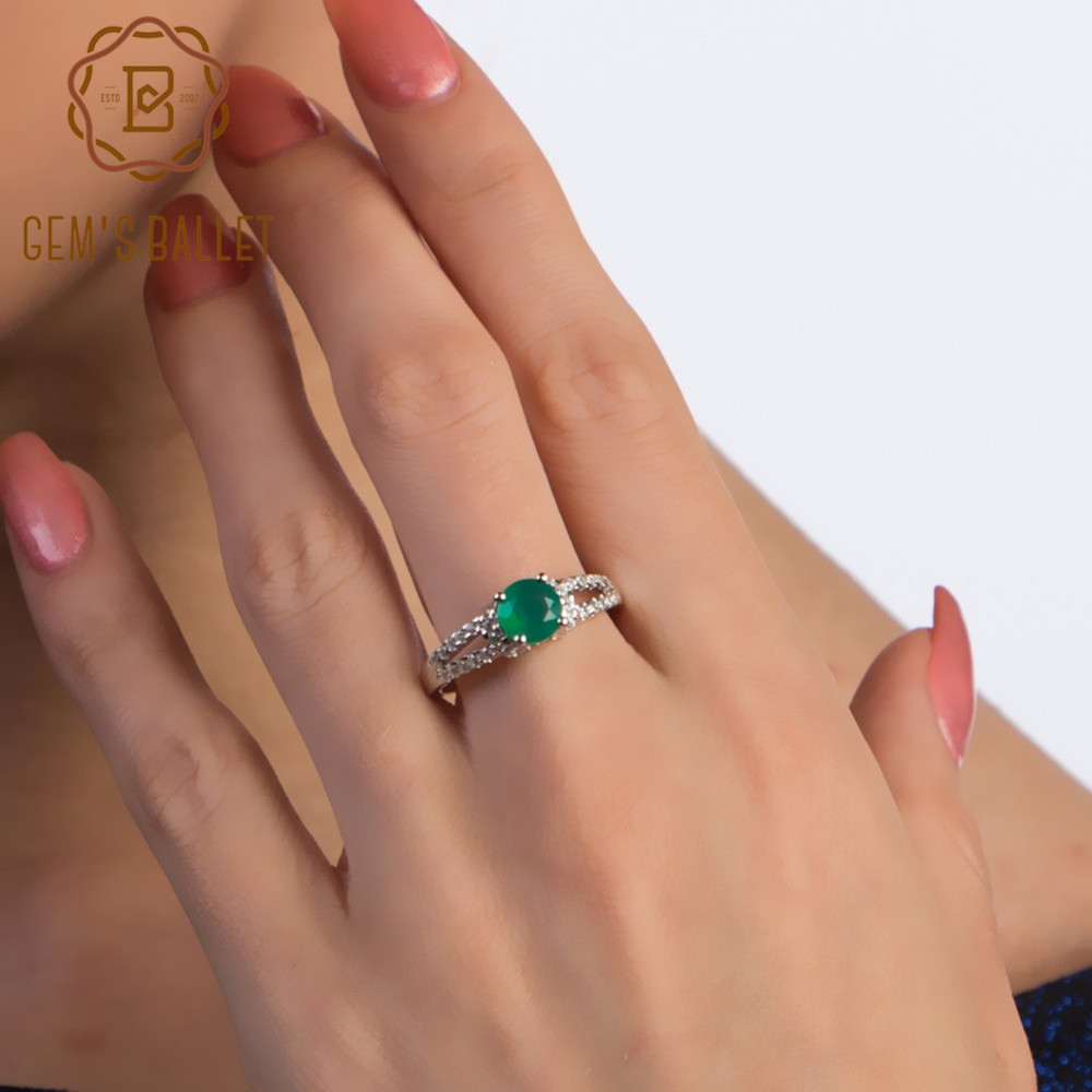 Gem's Ballet Natural Green Agate Vintage Gemstone Rings For Women 925 Sterling Silver Wedding Ring Fine Jewelry With Box