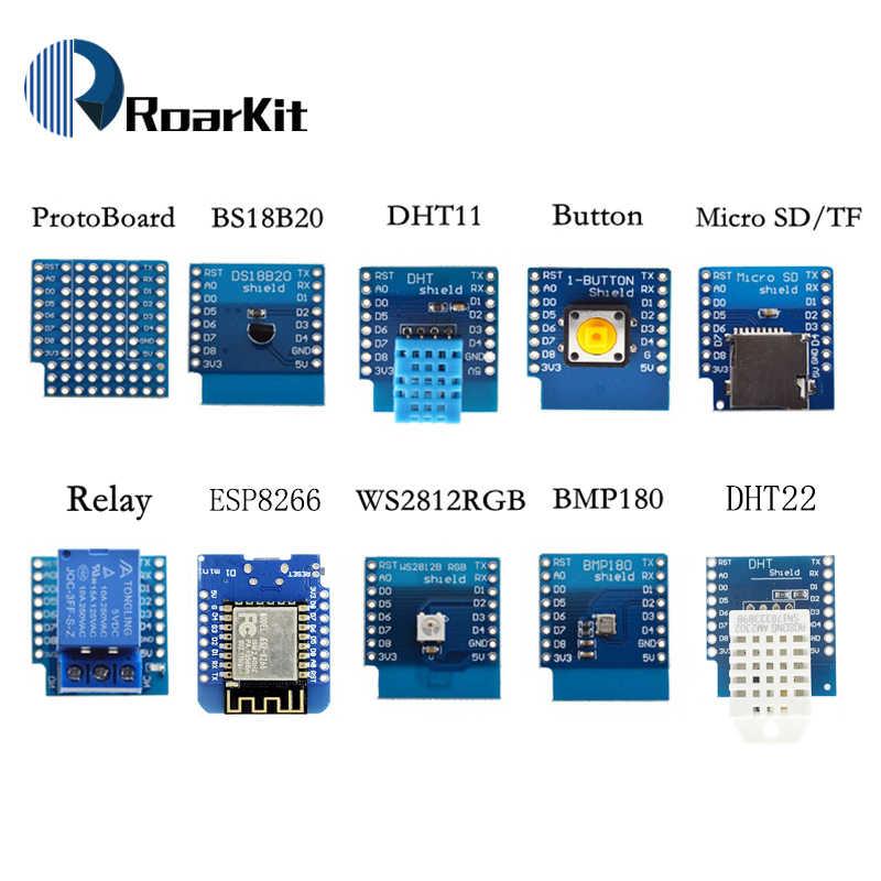 ESP8266 D1 Mini Pro WiFi carte de développement NodeMcu WS2812 RGB DHT11 DHT22 AM2302 relais DS18B20 BMP180 moteur pour kit de bricolage WeMos