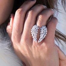 Anillo de Plata de Ley 925 con diseño de marquesa, joyería de lujo con corte de marquesa, Circonia cúbica 5A blanca transparente, anillo de plumas de ala ajustable Eternity